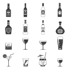 Alcohol Black Icons vector image vector image