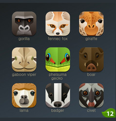 animal faces for app icons-set 12 vector image