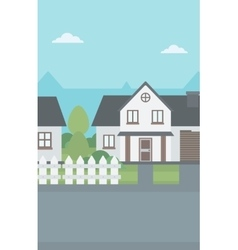Background of suburban house with fence vector