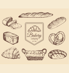 Bakery goods and sweets sketches set hand vector