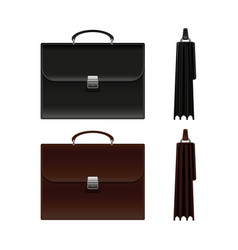 black and brown business briefcase bag vector image