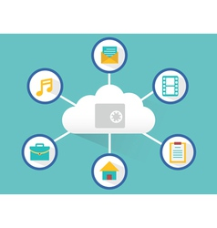 Concept of safe cloud computing vector image