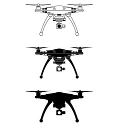 drone silhouette flying copter vector image