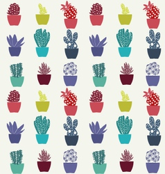 Flat cactus pattern plants in pots vector