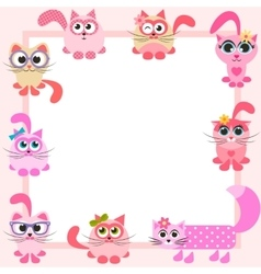 Frame with funny colorful cats vector