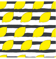 hand drawn lemon seamless pattern vector image