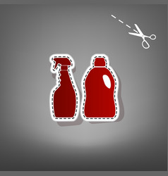 Household chemical bottles sign red icon vector