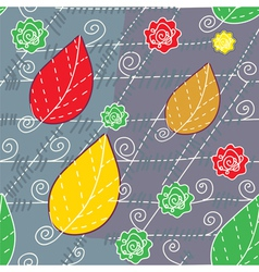 Leaves and lines autumn seamless vector