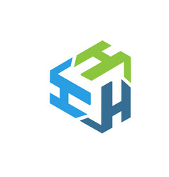 letter h logo triangle vector image