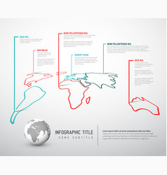 light world thin line map infographic template vector image