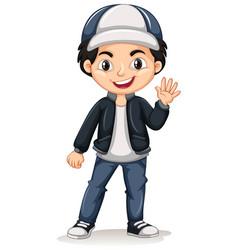 little boy waving hello vector image vector image
