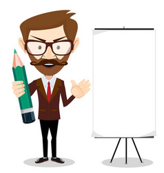 Man holding a pencil and pointing to a blank vector