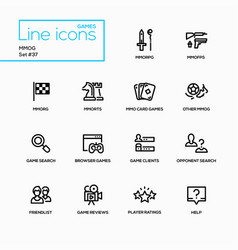 mmog - modern single line icons set vector image vector image