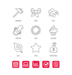 Money bag star and bow icons leaf pacifier vector