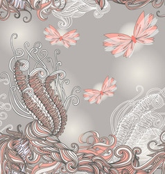 Seamless pattern with butterflies for wedding vector
