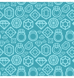 seamless pattern with gem and diamond icons vector image vector image