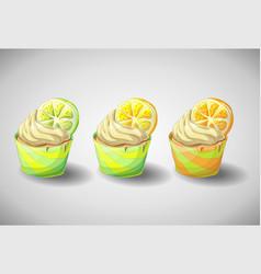 set of capkakes hand draw citrus cupcake vector image vector image