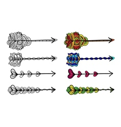Set of doodle artistic arrows vector image