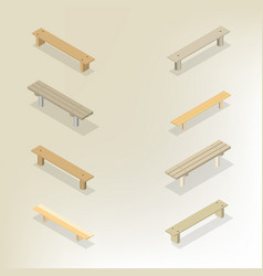 set of wooden benches 3d vector image vector image