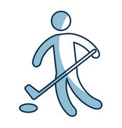 silhouette of athlete practicing hokey vector image