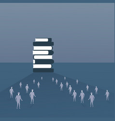silhouette people crowd walking to books stack vector image