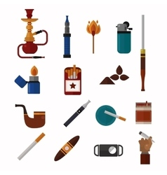 Smoking silhouette icons collection vector image