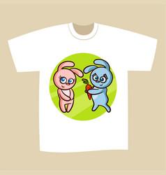 T-shirt print design bunny vector
