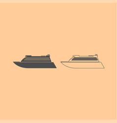 transatlantic cruise liner dark grey set icon vector image vector image