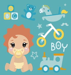 with cute baby boy character vector image vector image