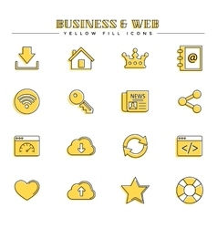 Business and web yellow fill icons set vector