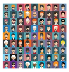 Set of people icons in flat style with faces 16 b vector