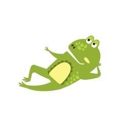 Frog Laying Down Preaching Flat Cartoon Green vector image