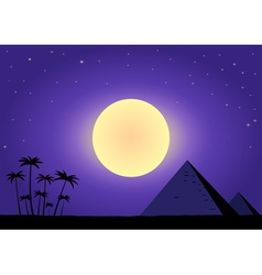 Summer night with pyramids vector