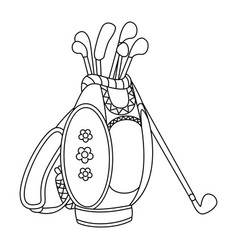 Black and white golf bag vector