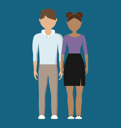 Young couple cartoon icon vector