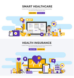 Flat design concept banners - smart healthcare vector