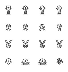 Trophy and awards icons set line icons vector