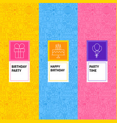 Line birthday patterns set vector