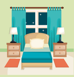Room interior with bed nightstand and lamp vector