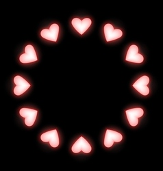 Self-illuminated pink hearts like frame on black vector