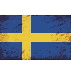 Swedish flag Grunge background vector image