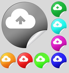 Upload from cloud icon sign set of eight vector