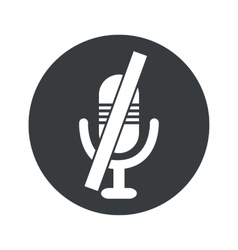 Monochrome round muted microphone icon vector