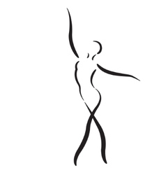 Sketched dancing woman isolated on white vector