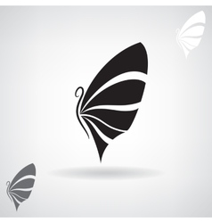 Stylized black silhouette of a butterfly vector