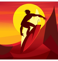 Silhouette of surfer at sunset vector