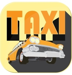 Vintage taxi car cartoon sketch icons vector