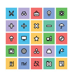 Education square icons 4 vector