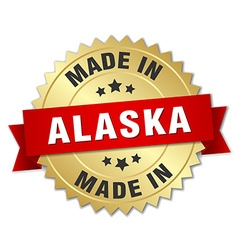 Made in alaska gold badge with red ribbon vector
