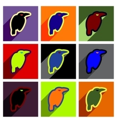 Flat with shadow concept icon crows bright vector